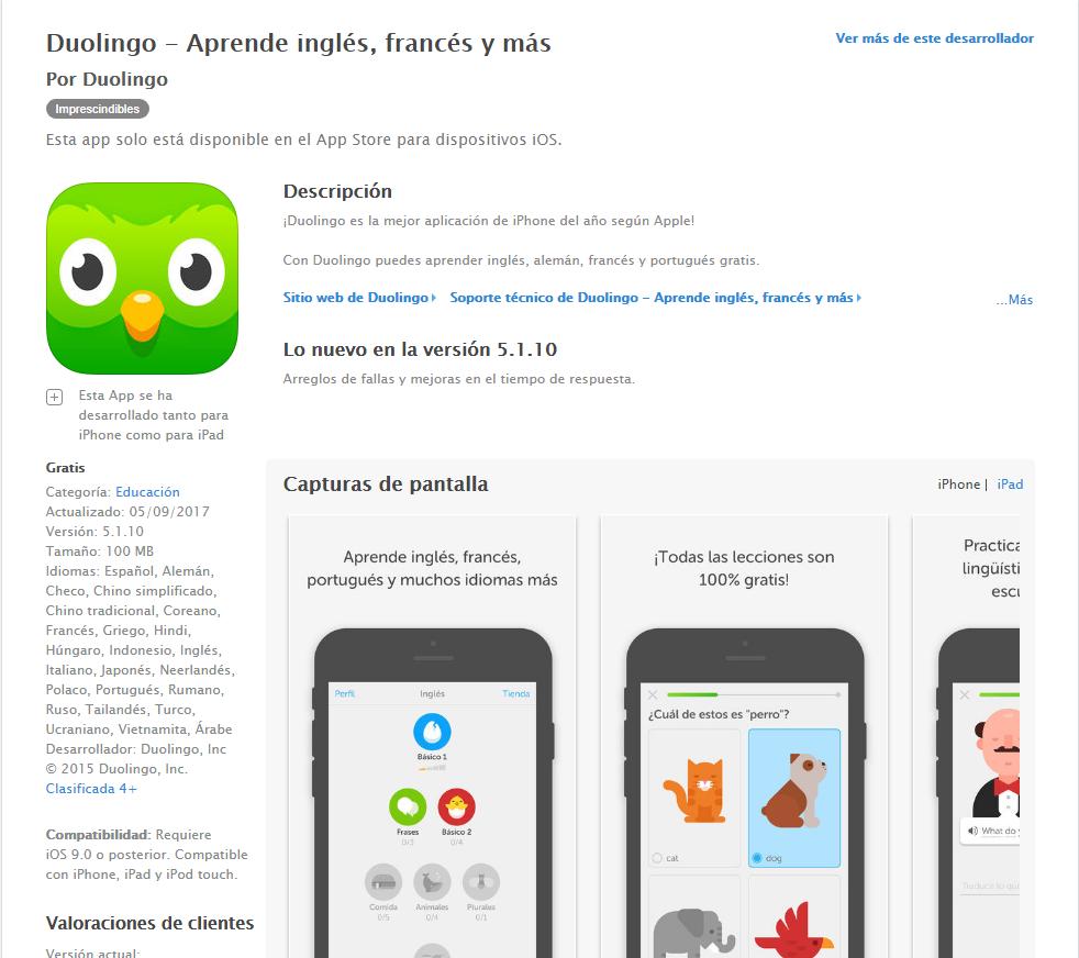 Aplicación aprender francés apple store